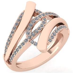Certified 0.44 Ctw Diamond VS/SI1 Ring For 14K Rose Gol