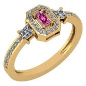 Certified 055 Ctw Pink Tourmaline And Diamond 14k Yell