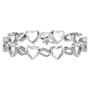 Certified 0.55 Ctw Diamond VS/SI1 Bracelet 14K White Go