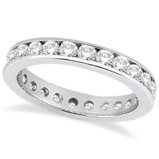 Channel-Set Diamond Eternity Ring Band in Platinum (1.