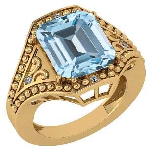 Certified 6.04 Ctw Blue Topaz And Diamond Ladies Fashio