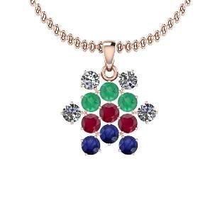 Certified 1.80 Ctw VS/SI1 Emerald , Ruby, Blue Sapphire
