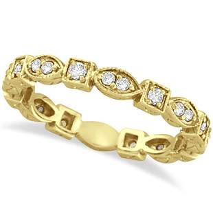 Antique Style Diamond Eternity Ring Band in 14k Yellow