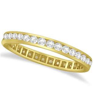 Channel Set Diamond Eternity Ring Band 14k Yellow Gold