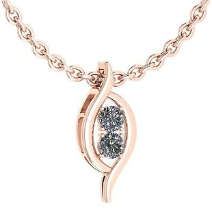 Certified 0.50 Ctw Diamond VS/SI1 Necklace For 14K Rose