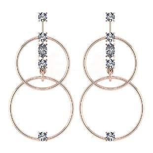 Certified 0.66 Ctw Diamond VS/SI1 Earrings 14K Rose Gol