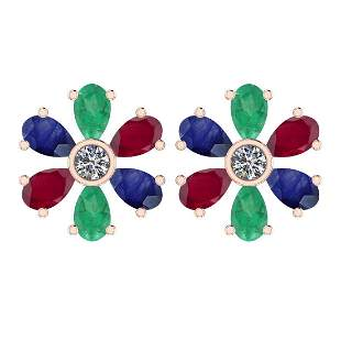 Certified 4.33 Ctw Emerald, Ruby, Sapphire And Diamond