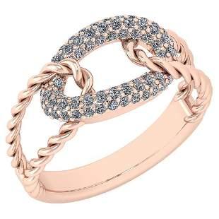 Certified 0.55 Ctw Diamond VS/SI1 Ring 14K Rose Gold