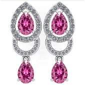 234 Ctw Pink Tourmaline And Diamond 14k White Gold Hal