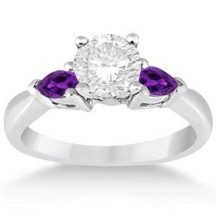 Pear Cut Three Stone Amethyst Engagement Ring 14k White