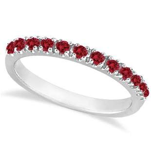 Garnet Stackable Ring Guard Band 14K White Gold 0.37ctw