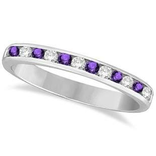 Amethyst and Diamond Semi-Eternity Channel Ring 14k Whi