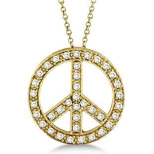 Diamond Peace Sign Pendant Necklace 14k Yellow Gold 0.5