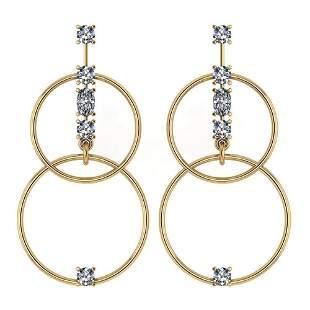 Certified 0.66 Ctw Diamond VS/SI1 Earrings 14K Yellow G