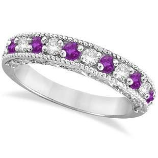 Diamond and Amethyst Band Filigree Design Ring 14k Whit
