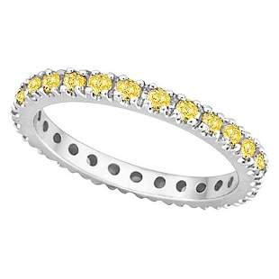 Fancy Yellow Canary Diamond Eternity Ring Band platinum