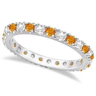 Diamond and Citrine Eternity Ring Guard Band 14K White