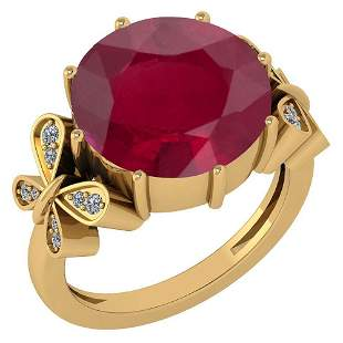 Certified 6.20 Ctw Ruby And Diamond Ring 14K Yellow Gol