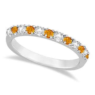 Diamond and Citrine Ring Guard Stackable Band 14k White