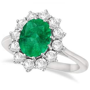 Oval Emerald and Diamond Ring 14k White Gold 3.60ctw