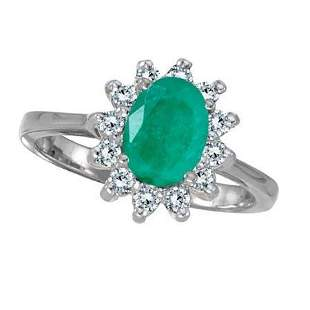 Lady Diana Oval Emerald and Diamond Ring 14k White Gold