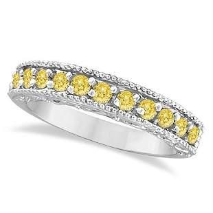 Fancy Yellow Canary Diamond Ring Band 14k White Gold 0.