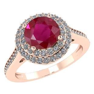 Certified 2.92 CTW Genuine Ruby And Diamond 14K Rose Go