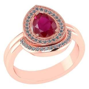 Certified 2.20 CTW Genuine Ruby And Diamond 14K Rose Go