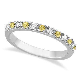 Yellow Canary and White Diamond Stackable Ring Band 14k