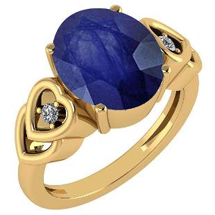 Certified 5.11 Ctw Blue Sapphire And Diamond Ladies Fas