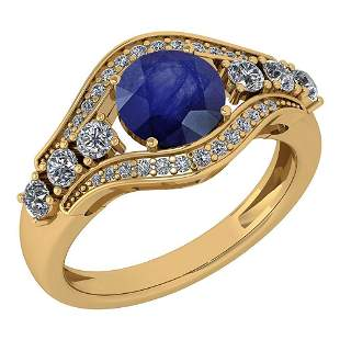 Certified 1.80 Ctw Blue Sapphire And Diamond Ladies Fas