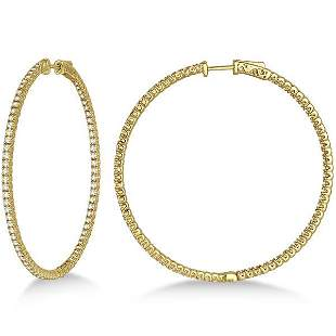 Unique X-Large Diamond Hoop Earrings 14k Yellow Gold 3.