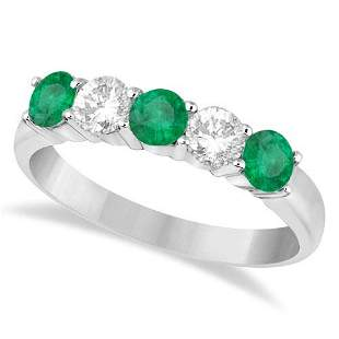 Five Stone Diamond and Emerald Ring 14k White Gold 1.08