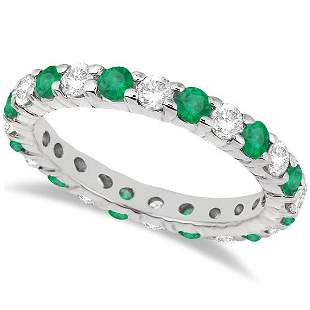 Eternity Diamond and Emerald Ring Band 14k White Gold 2