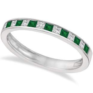 Channel Set Diamond and Emerald Ring Band 14k White Gol