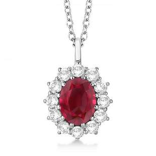 Oval Ruby and Diamond Pendant Necklace 14k White Gold 3