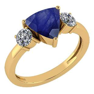 Certified 2.25 Ctw Blue Sapphire And Diamond Ladies Fas