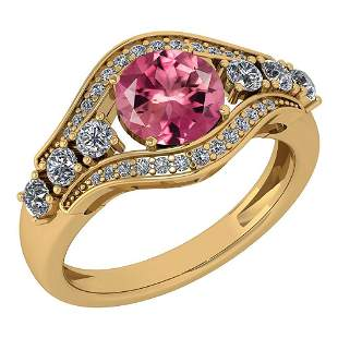 Certified 1.80 Ctw Pink Tourmaline And Diamond Ladies F