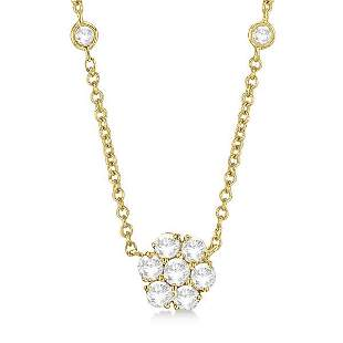 Flower Pendant Station Necklace 14k Yellow Gold 1.50ctw