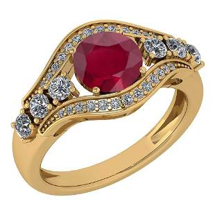 Certified 1.80 Ctw Ruby And Diamond Ladies Fashion Halo