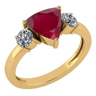 Certified 2.25 Ctw Ruby And Diamond Ladies Fashion Halo