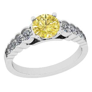 Certified 1.26 Ct Natural Fancy Yellow And White Diamon