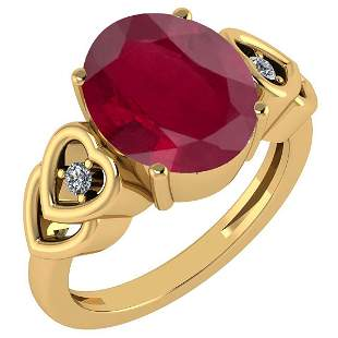 Certified 5.11 Ctw Ruby And Diamond Ladies Fashion Halo