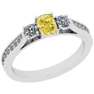 Certified 0.65 Ct Natural Fancy Yellow And White Diamon