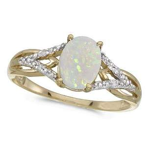 Oval Opal and Diamond Cocktail Ring 14K Yellow Gold 0.7