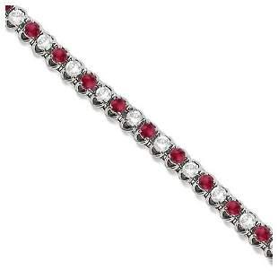 Round Ruby and Diamond Tennis Bracelet 14k White Gold 4