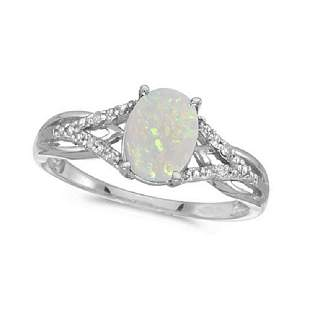 Oval Opal and Diamond Cocktail Ring 14K White Gold 0.70