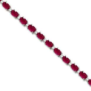 Ruby and Diamond Tennis Bracelet 14k White Gold 12.00ct