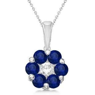 Flower Diamond and Blue Sapphire Pendant Necklace 14k W