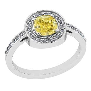 Certified 1.25 Ct Natural Fancy Yellow And White Diamon